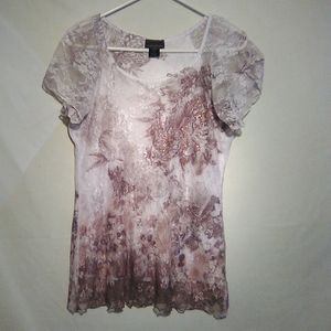 Brittany black lace overlay white silver SS top